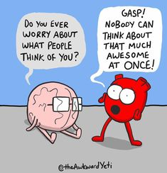 Heart and Brain Funny Cartoons, Funny Comics, Heart And Brain Comic, The Awkward Yeti, Rebel Quotes, Life Comics, You Make Me Laugh, Funny Comments, Book Nerd