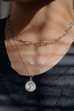 Stacked Necklaces, Layered Necklaces Silver, Sterling Silver Necklaces, Layering Necklaces, Layered Jewelry, Silver Chain Necklace, Simple Silver Necklace, Layered Chain Necklace, Dainty Jewelry