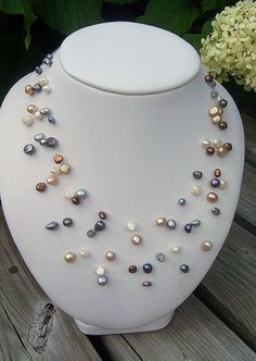 Multi-colored pearl illusion necklace, floating necklace, five strand pearl necklace, five strand illusion necklace. This five strand necklace has Pearl Jewelry, Wire Jewelry, Jewelry Crafts, Beaded Jewelry, Jewelry Necklaces, Handmade Jewelry, Jewellery, Pearl Necklaces, Photo Jewelry