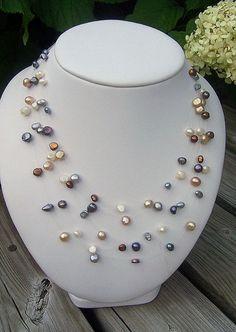 Multicolored pearl illusion necklace