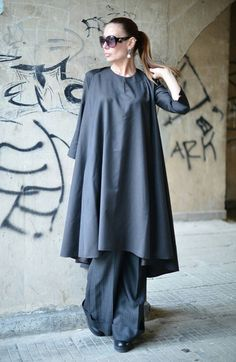 XXL,XXXL Maxi Dress / Extravagant Long Dress / Daywear Dress / Dark Grey Dress / Cold Wool Kaftan / Party Dark Gray Maxi Dress /  EUGfashion