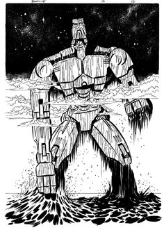 Mata Nui Rises-Original Ink for the final issue of Bionicle: Battle for Power