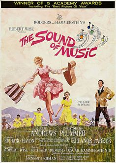 The Sound of Music (1965) An American musical directed and produced by Robert Wise, starring Julie Andrews and Christopher Plummer.   The movie was filmed in Salzburg, Austria; the state of Bavaria in Germany; and at the 20th Century Fox studios in Calif. U.S. It was photographed in the 70mm.  The film won five Academy Awards including Best Picture and displaced Gone with the Wind as the highest-grossing film of all-time.