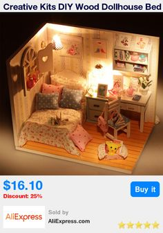 Creative Kits DIY Wood Dollhouse Bed Miniature With LED+Furniture+cover  * Pub Date: 21:02 Apr 1 2017