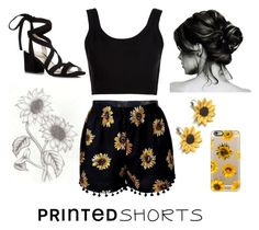 """""""Sunflowers"""" by elliemund8 ❤ liked on Polyvore featuring Calvin Klein Collection, Kenneth Cole, Summer and Silver, Casetify and printedshorts"""