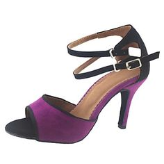 Customizable Women's Dance Shoes Latin/Ballroom Suede Stiletto Heel Black/Green/Purple 2016 - €22.53