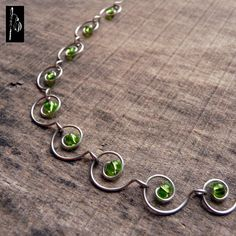 Cool green wire wrap necklace