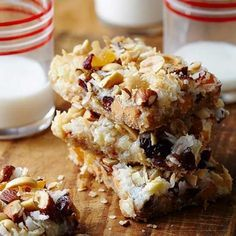Holiday Seven-Layer Bars: Chocolate, nuts, coconut and more fill our easy-to-make bar cookies. Mixed dried fruit bits and candy-coated milk chocolate pieces are among the layers that make this bar cookie distinctive.
