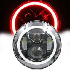 """7"""" Round LED Headlight Projector Daymaker Headlamp with Angle Eye Halo Ring For Harley Jeep Wrangler Davidson Motorcycle #Affiliate"""