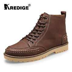 19.80$  Watch here - http://ali3of.shopchina.info/go.php?t=32777844759 - KREDIGE Men Lace-Up Martin Boots Shoes Texture Comfortable Shoes Wear-Resistant Anti-Skid Pure Round Toe Deodorant Leather Shoes 19.80$ #shopstyle
