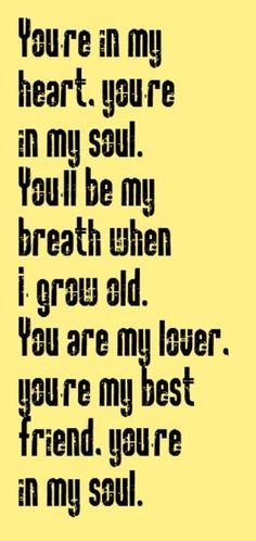 You're in my heart. You're in my soul. You'll be my breath when I grow old. You are my lover, you're my best friend. You're in my soul.