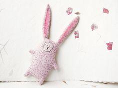 Sleepy Bunny Stuffed Toy - Sleepy Rabbit Upcycled Softie - Animal Plushie for Baby