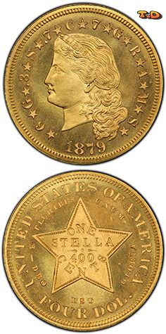 N♡T. 1879 $4 Flowing Hair Diameter: 22.00 millimeters Designer: Charles E. Barber Weight: 7.00 grams Edge: Reeded Mintage: 425 Metal Content: 86% Gold, 4% Silver, 10% Copper Auction Record: $431,250 • PCGS PR64 • 6-26-2008 • Heritage