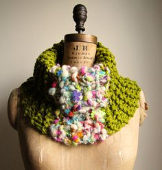 Bohemian knit cowl Chartreuse Pink Purple READY to by Happiknits, $60.00