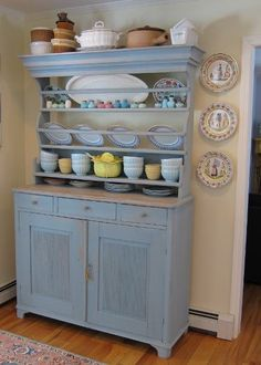 Swedish hand painted dresser with plate rails & raised gadrooning on the lower cabinet doors.