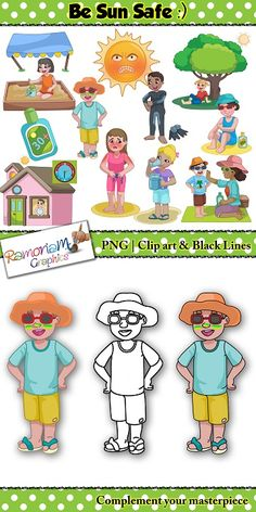 This sun safety clip art includes it all! From staying indoors to what one should do when they are in the sun. A great visual for teaching kids about the importance of being sun safe in Summer. #ramonam #ramonamgraphics #kidsapproved #sunsafeclipart #summerclipart #summer #sunsafe #sunsafety