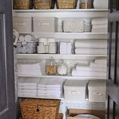 """Fun seeing our linen closet makeover on @wayfair! #wayfairathome (for a detailed source list including paint colors and info on all the items google """"dear lillie linen closet"""") by dearlillie"""