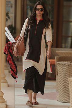 Deepika Trendy Beige & Black Cotton Salwar Suit