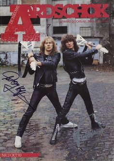 "rockandrollpicsandthings: "" Accept, on the cover of dutch magazine Aardschok 1983 Frank Hoffmann and Herman Frank """