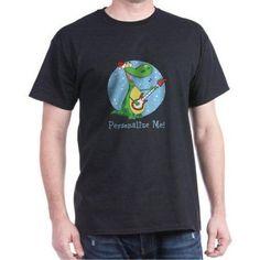 Cafepress Personalized Rockin Christmas Dino Dark T-Shirt, Men's, Size: Large, Black