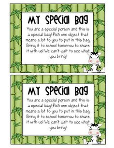 """""""My special bag"""" idea-give the students a """"special bag"""" with this note and have them bring in something special to share with the class the next day"""
