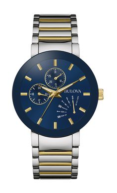 BULOVA 98C123 MEN'S CLASSIC TWO-TONE STAINLESS STEEL WATCH w/ DAY/ DATE MSRP: $350.00 CLASSIC COLLECTION: From the Classic collection. In stainless steel with silver-tone and gold-tone finish, blue dial, curved mineral glass, six hand multi feature movement, deployment clasp, and water resistance to 30 meters. FEATURES: Blue Dial Blue Bezel [...]