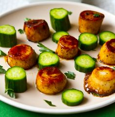 King Oyster Mushroom Vegan Scallops with Cucumber.