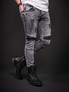 D&H Men Skinny Fit Biker Ripped Faux Leather Knees Jeans - Washed Black