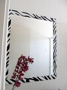 DIY espelho com moldura papel contact - para cobrir a umidade que estraga o espelho