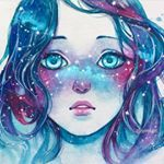 "Qinni | Qing Han on Instagram: """"Her face was like the night sky...you could almost trace out the constellations with her star-like freckles..."" - Finished. I'll put the video together and post it on my YouTube some time. I'll make a vid post when I do . I love it when the final product ends up close to what I saw in my head  Thanks for the love for my last post you guys (•‾⌣‾•)و ̑̑♡ Done with mostly gouache actually. Windsor Newton and Holbein gouache. #Moleskine watercolour sketchbook, but"