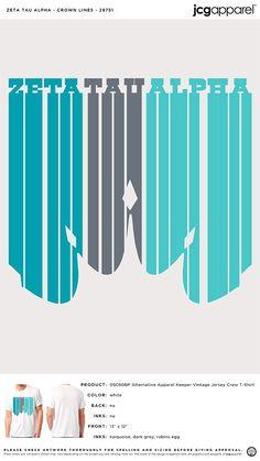 Zeta Tau Alpha Crown Lines Shirt Greek Crown, Zeta Tau Alpha, Custom Design Shirts, Vintage Jerseys, Sorority Crafts, Spring Design, Sorority And Fraternity, Alternative Outfits, Screen Printing