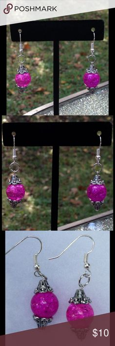 Sparkly Pink Glass Earrings These beautiful earrings are made with sparkling pink glass beads. The hooks are sterling silver plated.   All PeaceFrog jewelry items are handmade by me! Take a look through my boutique for coordinating jewelry and more unique creations. PeaceFrog Jewelry Earrings