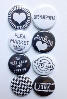 Ahem, Phil. . . these buttons would make an excellent present for me:) I Love Junk Flair by aflairforbuttons on Etsy, $6.00