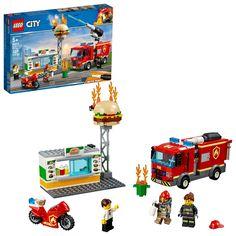 LEGO City Burger Bar Fire Rescue 60214 Building Kit 327 Pcs 2019 for sale online Lego Technic, Lego Duplo, Lego Ninjago, Lego Ww2, Lego City Police, Burger Restaurant, Local Burger, Toy Trucks, Fire Trucks