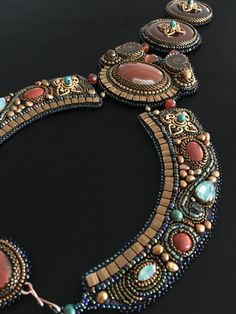 The Elora Collar with Carnelain and Jasper by DecolleteBijoux