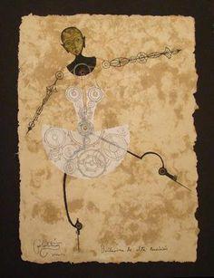 """CARLOS ESTEVEZ  Bailerina de alta Precision, 2007     mixed media on paper  17"""" x 12""""  606-7474"""