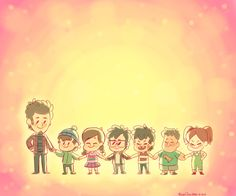 Alex Hirsch and his characters (pretty much his children: Dipper Pines, Mabel Pines, Ford Pines, Stan Pines, Soos Ramirez, and Wendy Corduroy