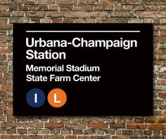 Champaign Sports Venues Subway Sign Prints 3 Sizes by SussiesHome