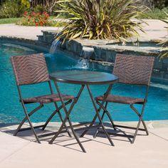 Outdoor Best Selling Home Decor Furniture Halman Wicker 3 Piece Round Bistro Set - 229663
