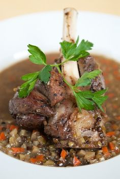 Lamb Shank Stew with Lentils - served over couscous