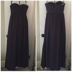Long Plum/Eggplant Silk Chiffon bridesmaid Dress! I love this dress! It makes you look so tall and elegant. I ordered this dress with extra length thinking it was going to be perfect, the day before the wedding I tried it on only to realize that it was way too long. Extra length came with 5 inches and I only needed three. Because it was too late to get it professionally tailored, I did it myself (outer and middle layer, inner is untouched) & it came out less than perfect. Other than the hem…