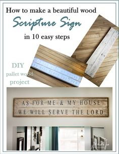 DIY wood Me & My House Scripture sign. Easy step by step tutorial for how to make a pallet wood sign - All that's Jas