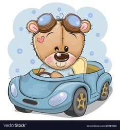 Cartoon Teddy Bear in glasses goes on a Blue car. Cute Cartoon Teddy Bear in glasses goes on a Blue car stock illustration Cartoon Cartoon, Teddy Bear Cartoon, Disney Cartoon Characters, Cartoon Birds, Cute Teddy Bears, Disney Cartoons, Cartoon Mignon, Baby Animals, Cute Animals
