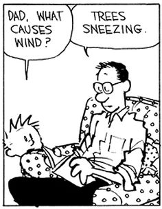 Calvin and Hobbes - Dad, what causes wind? | Trees sneezing.