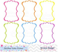 Rainbow invitation Labels for Scrapbooking, Commercial use or Personal Use.