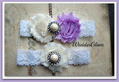 Wedding Garter Sale - Ivory Lace Garter Set -Bridal Garter - Vintage Ivory Garter - Lilac weddding- Purple lilac garter-Wedding accessories