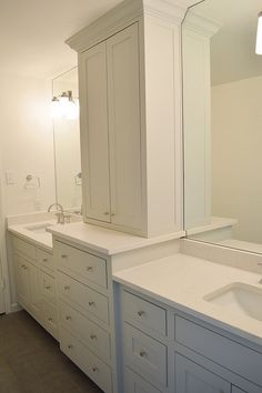 custom cabinets with storage tower, bathroom remodel, gray - IGTBH Flip #9