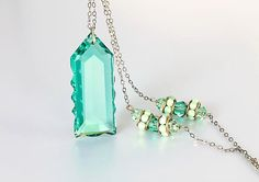Art Deco Teal crystal Necklace