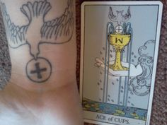 These tiny markings refer to the Minor Arcana of the Tarot deck: pentacles, swords, wands, and cups. Wiccan Symbols, Mayan Symbols, Viking Symbols, Viking Runes, Egyptian Symbols, Ancient Symbols, Cup Tattoo, Tatoo Art, Arm Tattoos