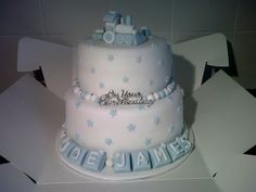 Christening\Baby shower train cake. Love the train